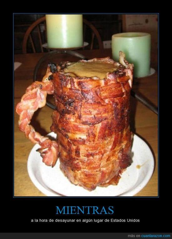 bacon,beber,colesterol con solo mirarlo,taza