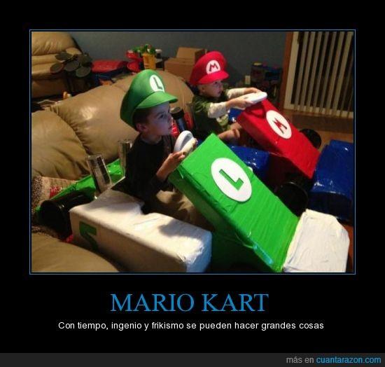 caparazón azul en 3 2 1...,Luigi,Mario,Mario Kart,niños,por qué no se me ocurrió,Wii