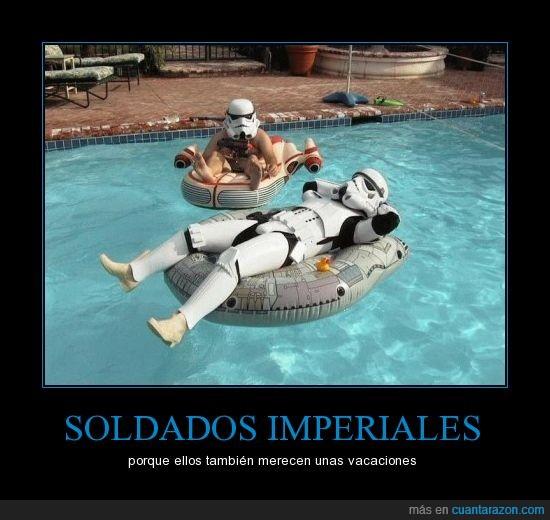 piscina,soldados,star wars,stormtrooper,vacaciones