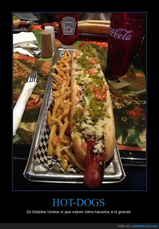 catsup,coca cola,comida,Estados Unidos,grande,hacer,hot-dog,papas
