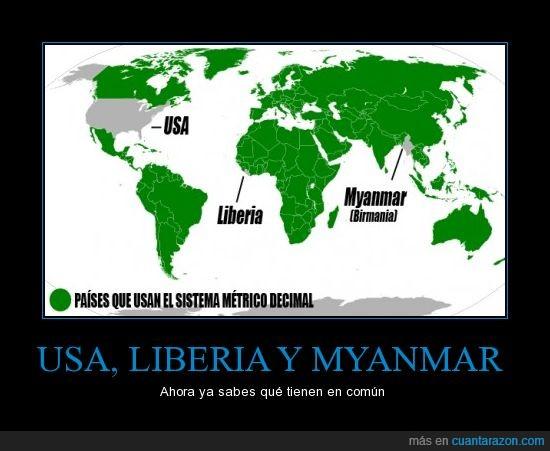 codos,Estados Unidos,Liberia,Myanmar,pies,sistema metrico decimal