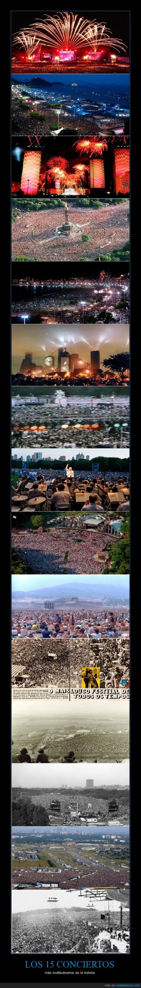 Conciertos,Garth Brooks,Jean Michel Jarre,Love Parade,Multitud,Rod Stewart,Simon & Garfunkel,The Rolling Stones,Woodstock