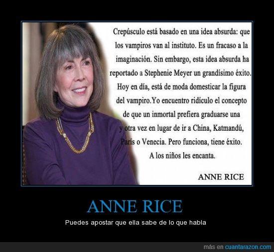 Anne Rice,Autora de una de las mejores sagas sobre vampiros,cronicas vampiricas,instituto,vampiro