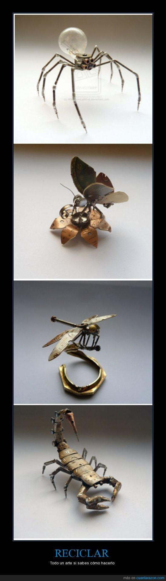 araña,arte,escorpion,libelula,mariposa,Reciclaje