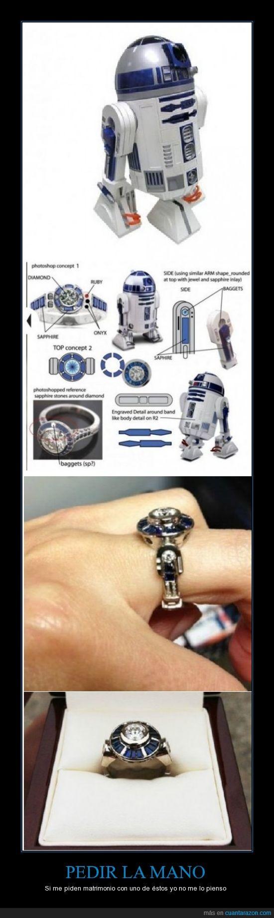 anillo,compromiso,friki,matrimonio,pedida,r2d2,star wars