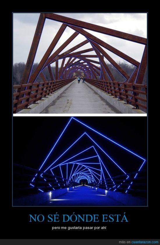 azules,cuadrado,luces,mueve,noche,puente