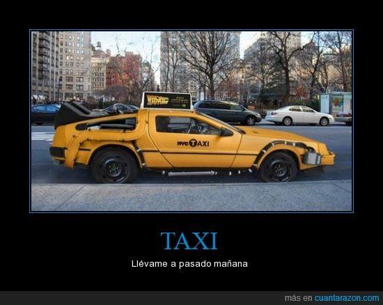 carro,ciudad,delorean,dia,futuro,regreso al futuro,taxi