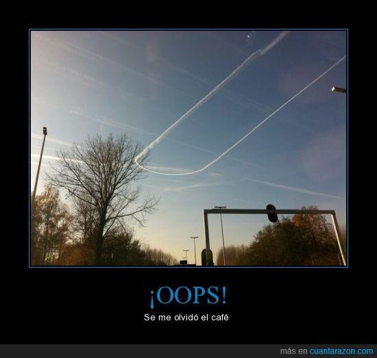 accidente,avion,café,girar,giro,media vuelta,viaje