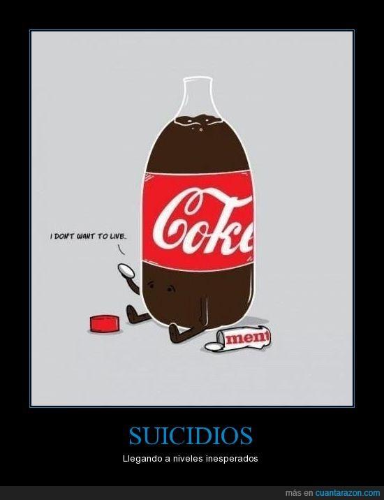 caramelos,coca-cola,gaseosa,mentos,Soda,suicidio