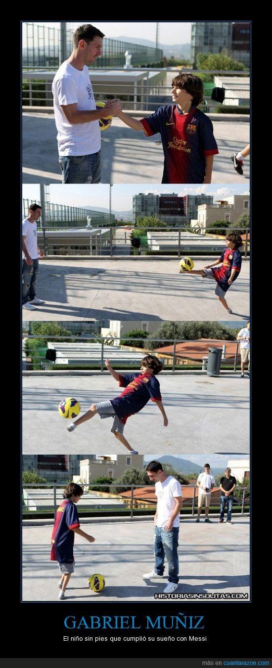 conocer,fe en la humanidad,Messi,niño,pelota,pies,sueño,toques