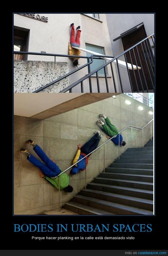 Cuerpos en espacios urbanos,paredes,Planking