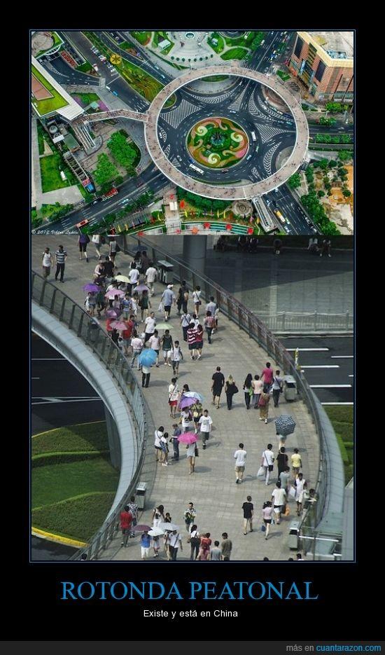 China,genial,peatones,rotonda