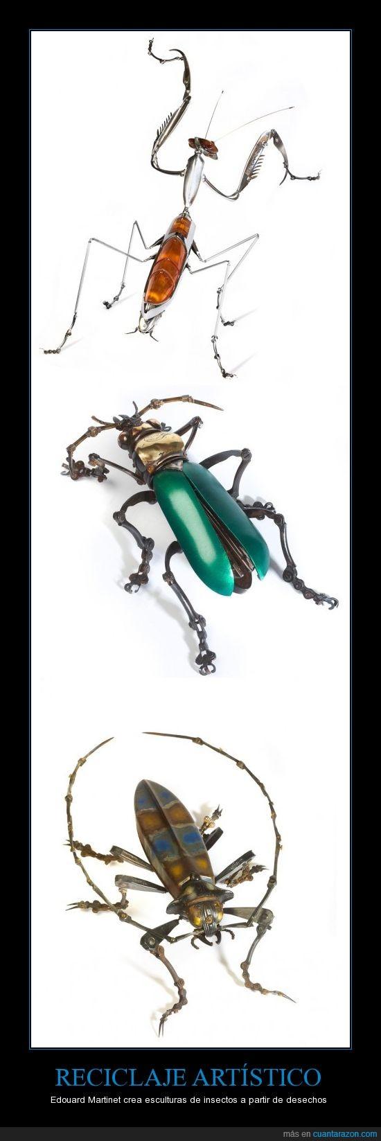 arte,creatividad,escultura,ingenio,insecto,reciclaje