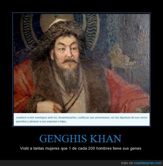 0.5% de la población mundial,comparte el mismo cromosoma,Descendencia,genghis khan,gengis kan,Imperio mongol,violador