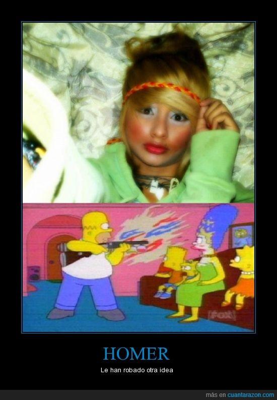 abuso,escopeta,Homer,ideas,Los Simpson,maquillaje,maquillarse,robado