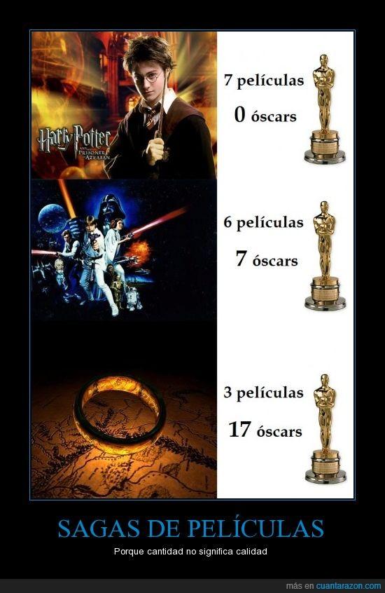 el señor de los anillos,ESDLA,Harry Potter,oscars,premio,Star Wars,tlotr