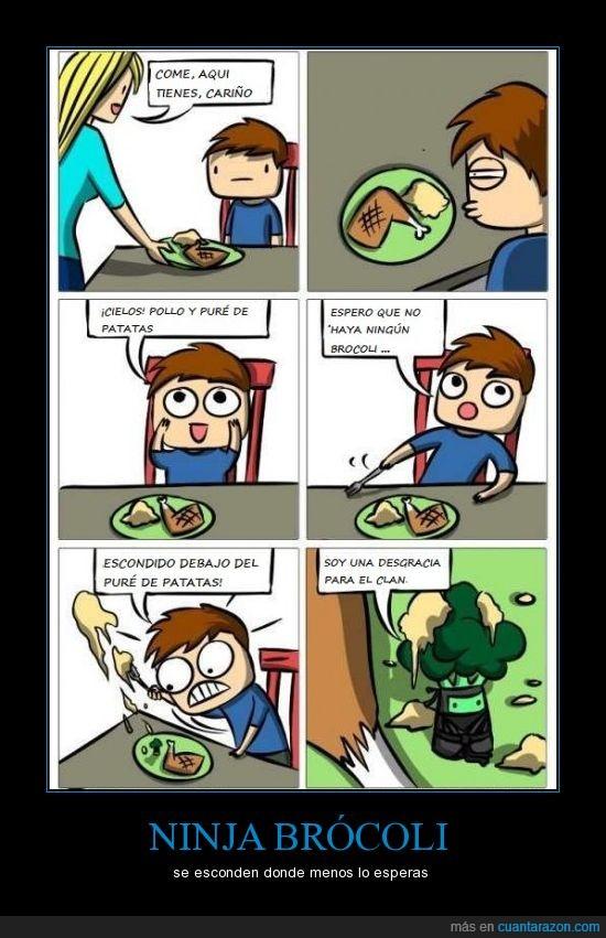 brocoli,chaval,desgracia,ninja,niño,patata,pollo