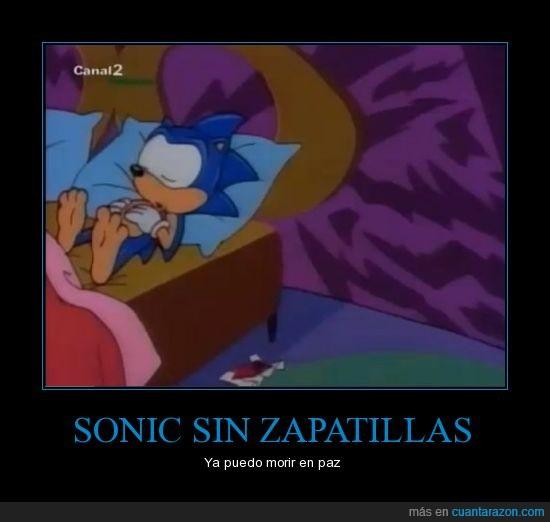 cama,pies,Sonic,zapatillas