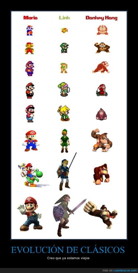 actual,Donkey Kong,Evolucion,Link,Mario,nintendo,nostalgia,pixel,retro,snes