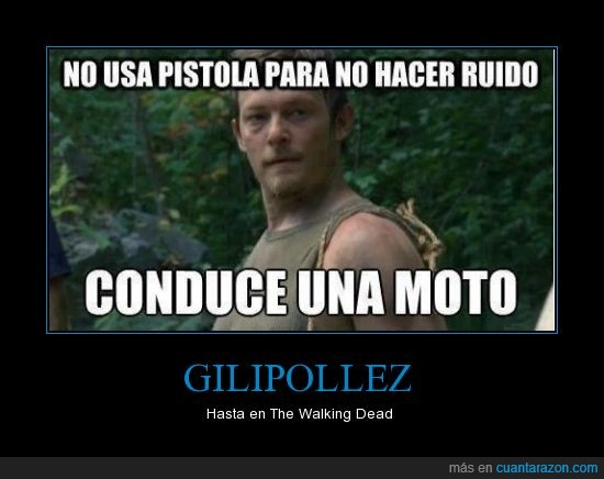 ballesta,daryl,gilipollez,moto,pistola,ruido,the walking dead