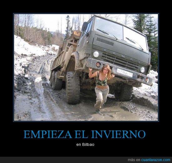 Bilbao,camion,chica,invierno,nieve,pues mucha cara de vasca no tiene...,vascos