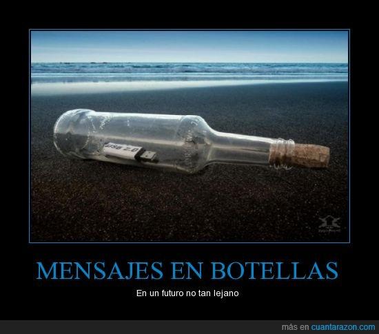 botella,futuro,isla desierta,mensaje,náufrago,USB