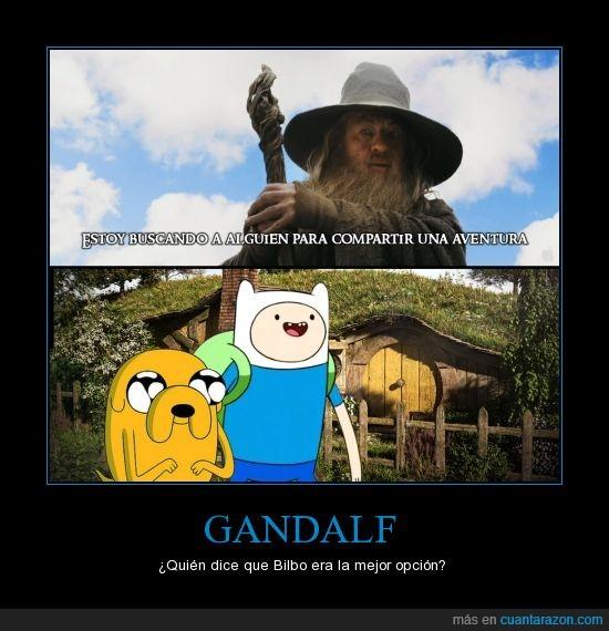 Adventure TIme,El Hobbit,Finn el humano,Gandalf,héroes,Hora de Aventuras,Jake el perro,The Hobbit