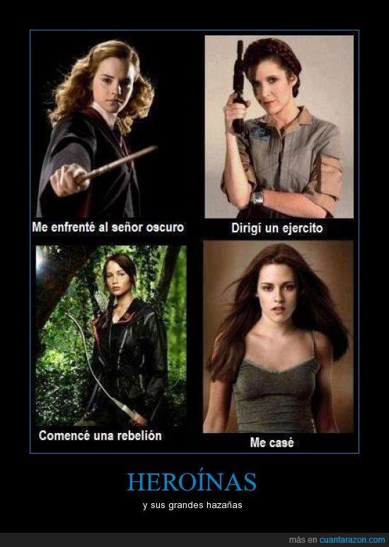 bella,harry potter,hermione,juegos del hambre,leia,star wars,twilight