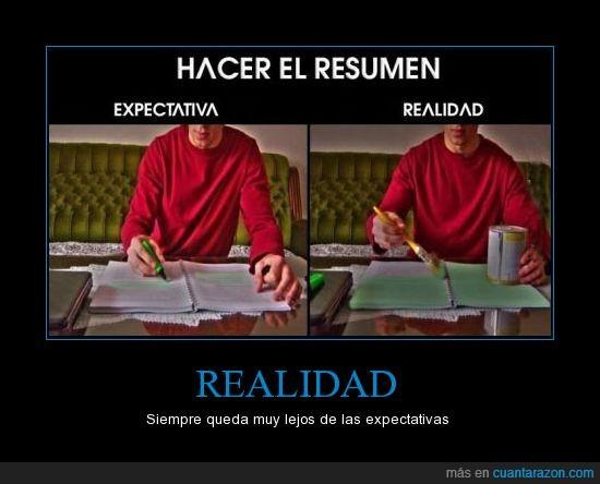 estudiar,examen,expectativas,importante,pintar,Realidad,resumen,subrayar,todo