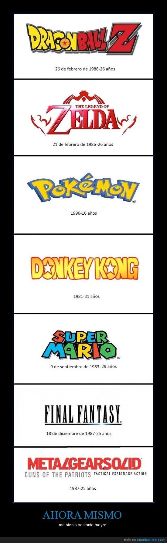 donkey kong,final fantasy,mario,mgs,pokémondbz,sagas épicas,zelda
