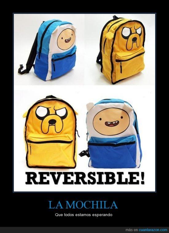 adventure time,finn,hora de aventuras,jake,mochila,reversible
