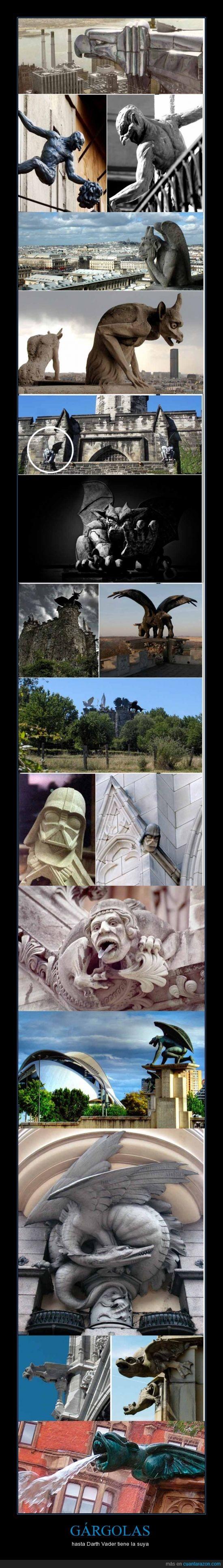 arte,darth vader,edificios,famosas,gargolas,gotico