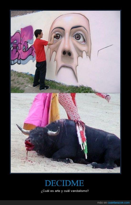 arte,graffitis,matar,torero,toro,vandalismo
