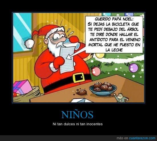 felices fiestas,galletas,leche,Navidad,niño,Papá Noel,peligro,Santa Claus,veneno