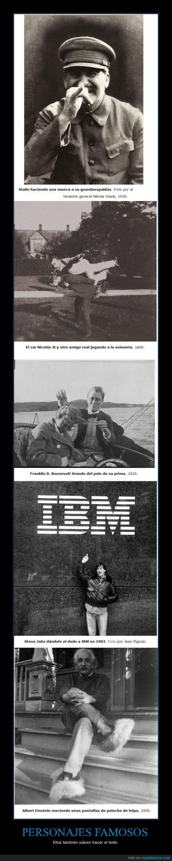 Einstein,famosos,fotos,más imágenes en la web,paint,Roosevelt,Stalin,Steve Jobs,tonto,Zar Nicolás II