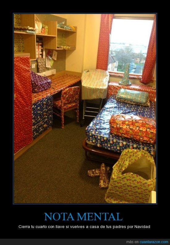 amigo,cama,compañero,envolver,habitacion,mesa,piso,regalo,todo,troll