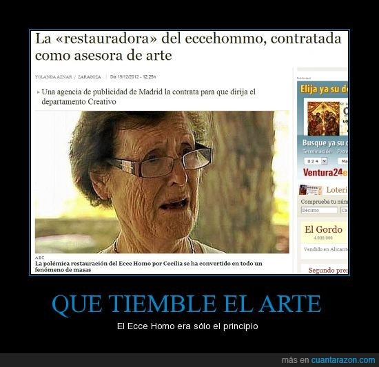 arte,Cecília Giménez,Ecce homo,fín,pintura,restauradora