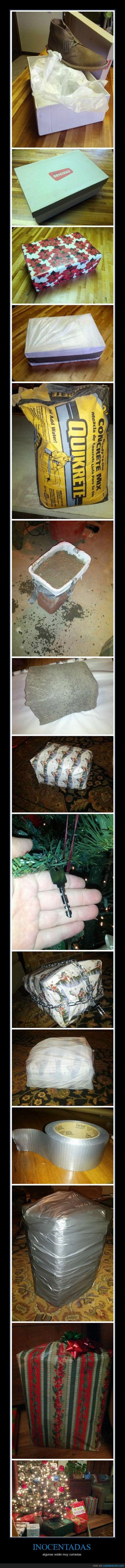 caja vacia,cemento,envolver,inocentada,navidad,regalo,zapatos