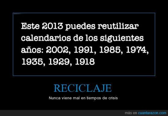 2013,años,calendario,reutilizar