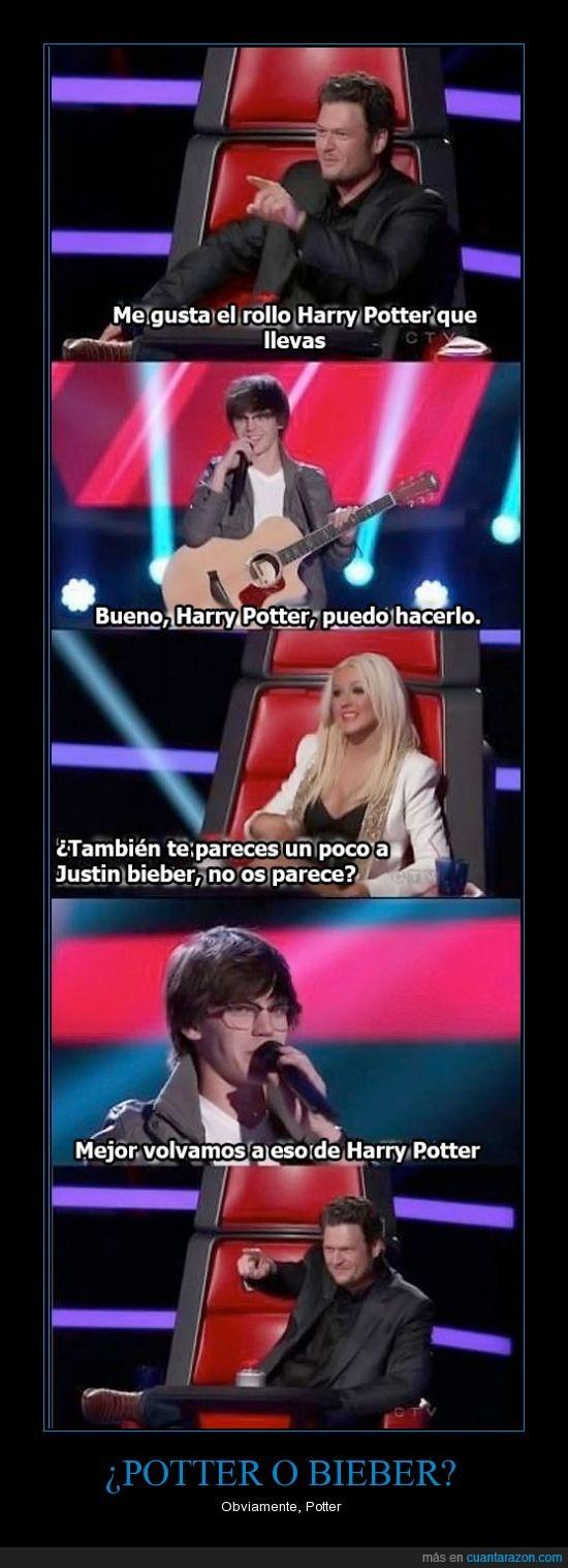 aguilera,bieber,canta,chico,concurso,guitarra,justin,mckenzie,potter,prefiero,the voice,toca