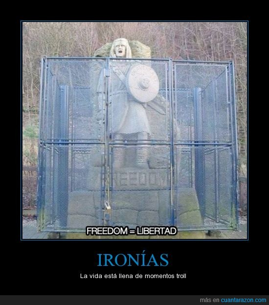 estatua,freedom,indio,ironia,jaula,libertad,troll,verja