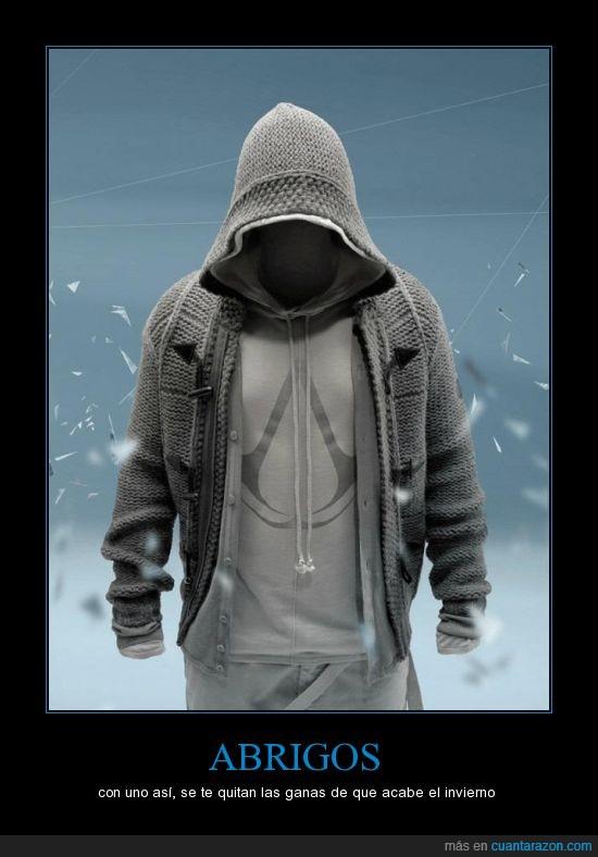 Abrigo,assassins creed,capucha,chaqueta,frio,molaa