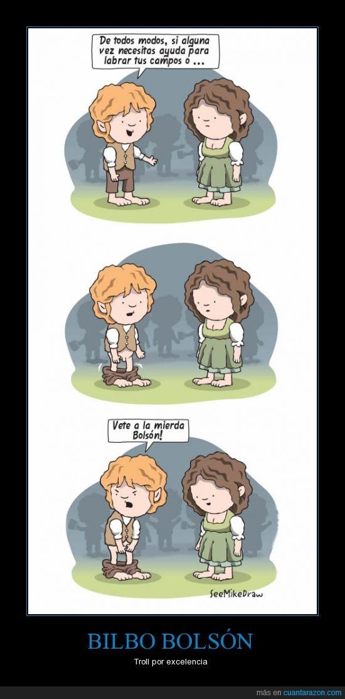 bajar,bilbo,bolson,frodo,hobbit,pantalones,sam,troll
