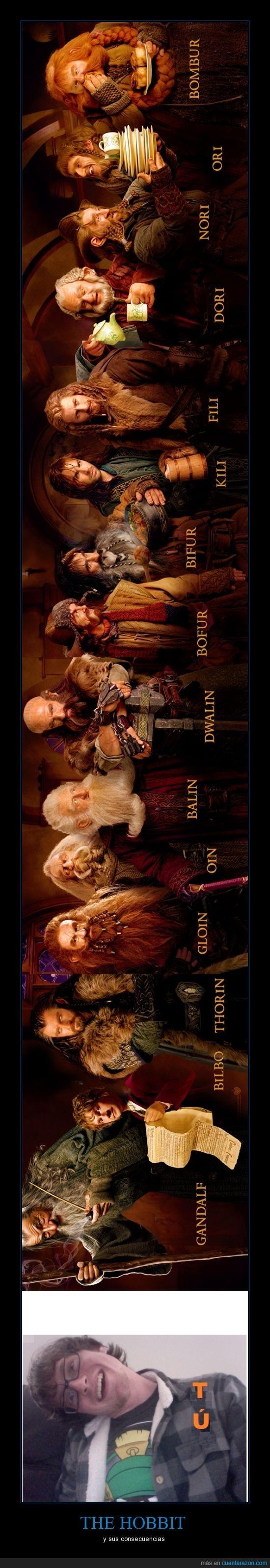Bilbo,conseguencias,fili.others,Gandalf,girar,lado,mirar,palo,The Hobbit,Thorin