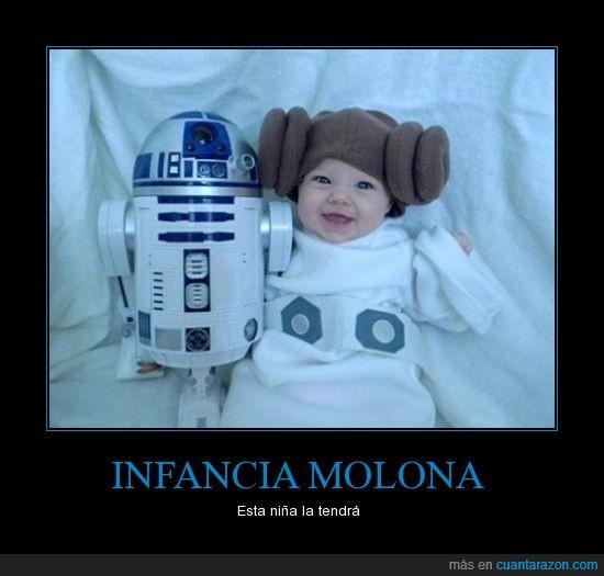 bebe,feliz,leia,niña,peluca,princesa,r2d2,star wars