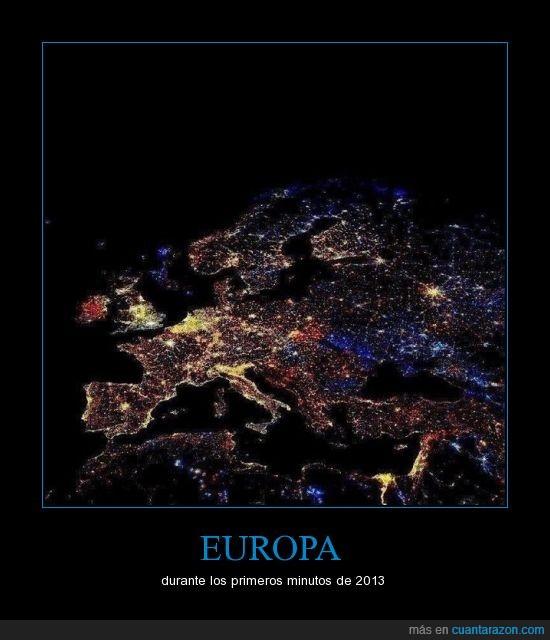 2013,año nuevo,contaminacion,europa,fuegos artificiales,luminica,luz,satélite