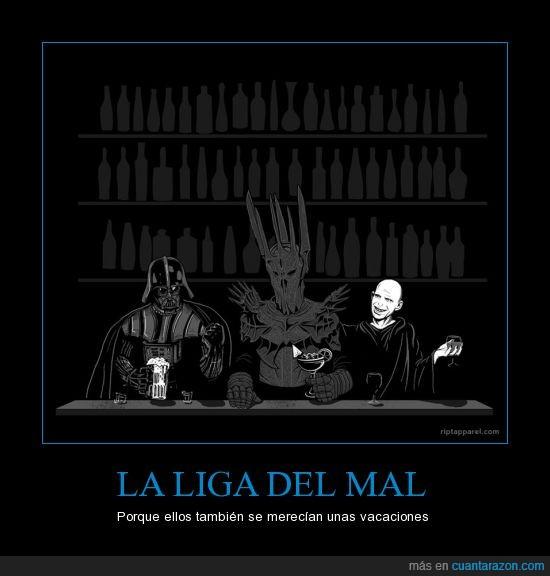 Darth Vader,El Señor de los Anillos,Harry Potter,Liga del Mal,Malos,Sauron,Star Wars,Villanos,Voldemort