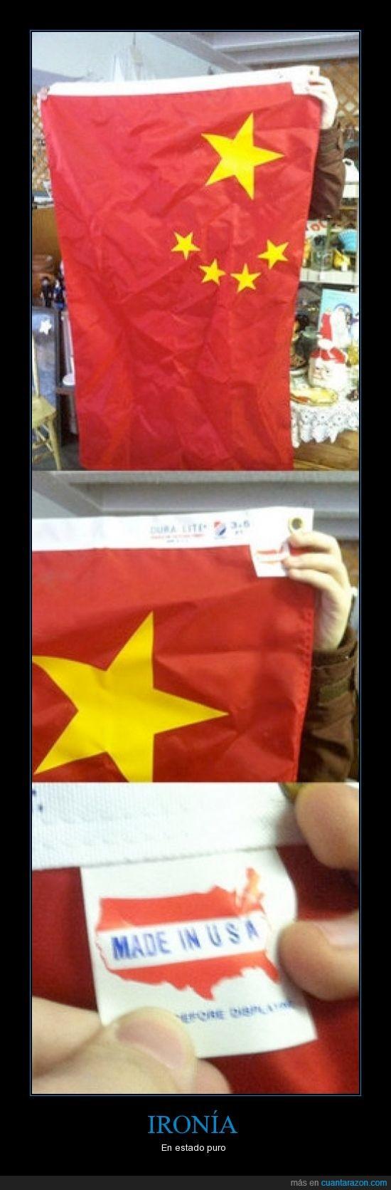 bandera,china,ironia,made in,usa