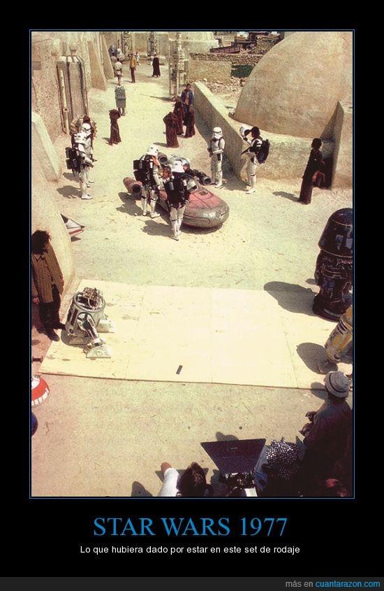 1977,detrás de cámara,pelicula,rodaje,set,Star Wars