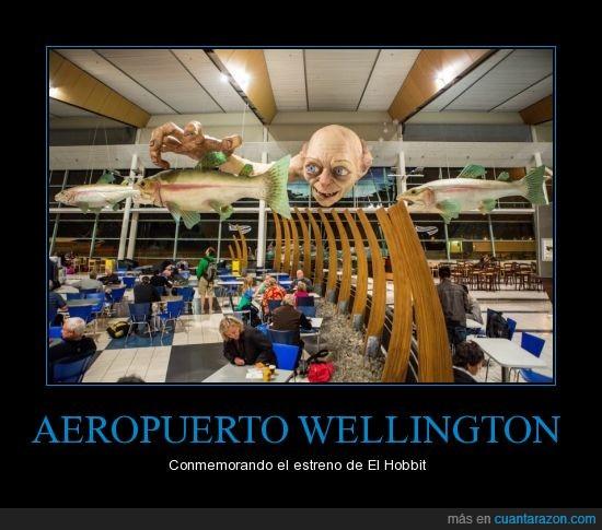 aeropuerto,el Hobbit,Gollum,Nueva Zelanda,pez